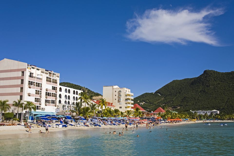 Great Bay Beach, Philipsburg, St. Maarten, Netherlands Antilles, West Indies, Caribbean, Central America