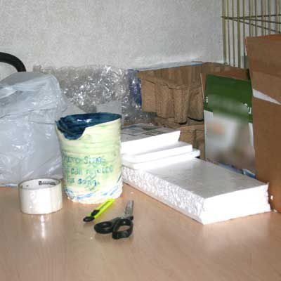 Packing materials and supplies for mailing pottery objects.