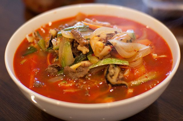 Jjampong or Champong Spicy Seafood Noodle Soup