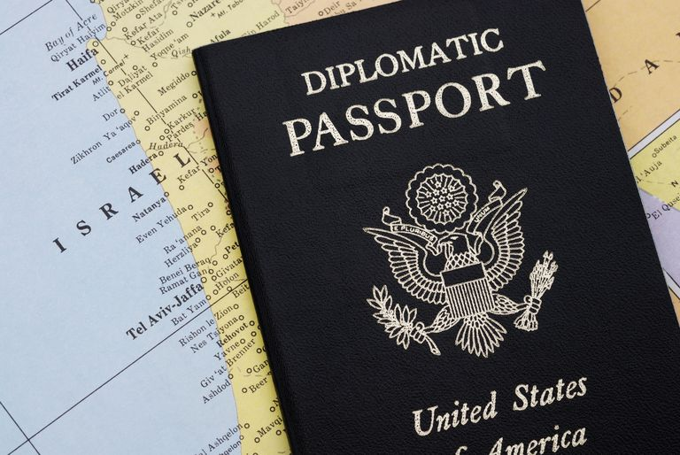 Diplomatic passport on map of Israel