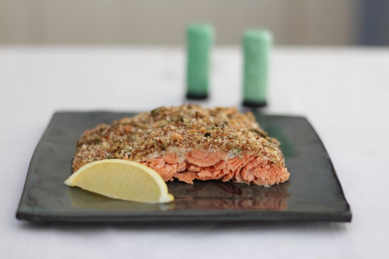 Salmon With Almond Flaxseed Crumbs