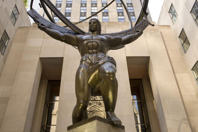 Lee Lawrie's Atlas Statue In Front Of The International Building, Rockefeller Center, NYC, New York, United States