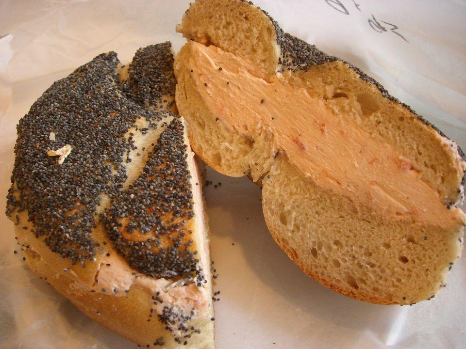 Poppyseed bagel with lox spread