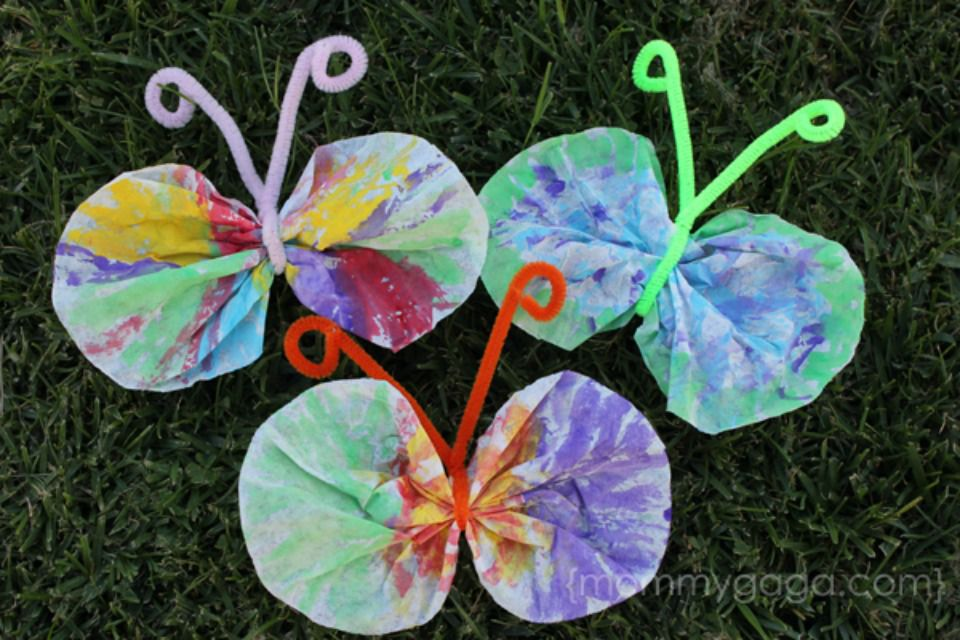Coffee Filter Butterfly Craft Idea