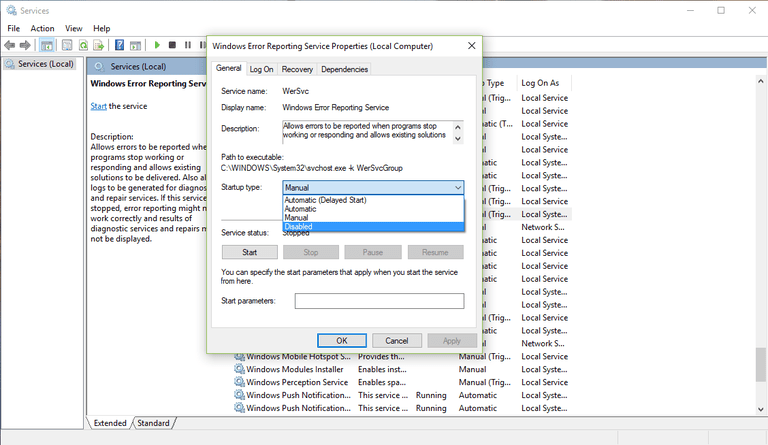 Screenshot of the Windows Error Reporting Service properties in Windows 10