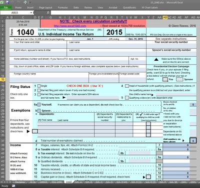 Excel1040: Spreadsheet-based Tax Software