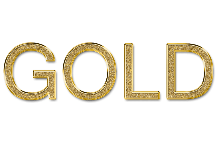 Screenshot of a Photoshop gold layer style used on the word 'gold'