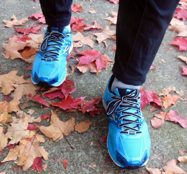 Blue Brooks Shoes and Autumn Leaves