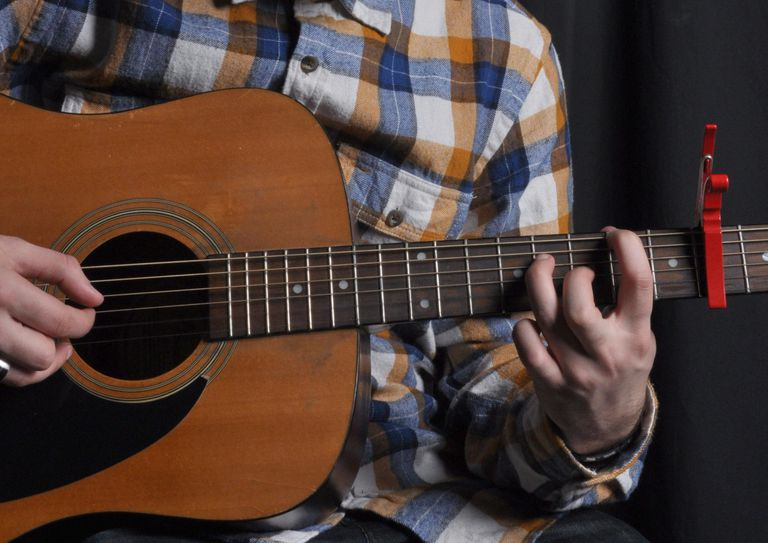 A guitar being played with a trigger-style capo