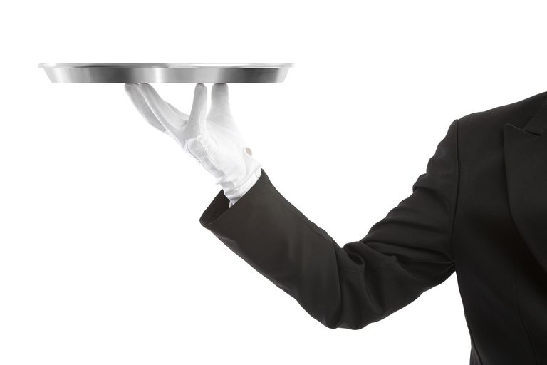 Butler holding tray with hand