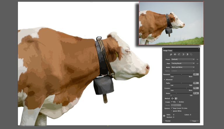 The image of a cow is traced using the Image Trace panel.
