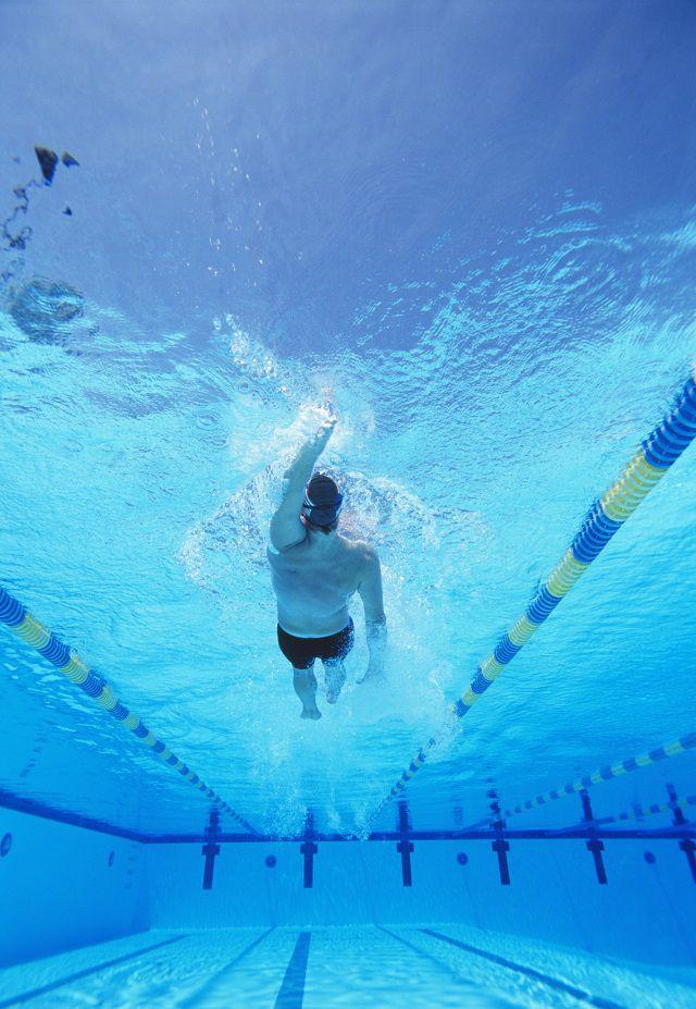 backstroke in pool