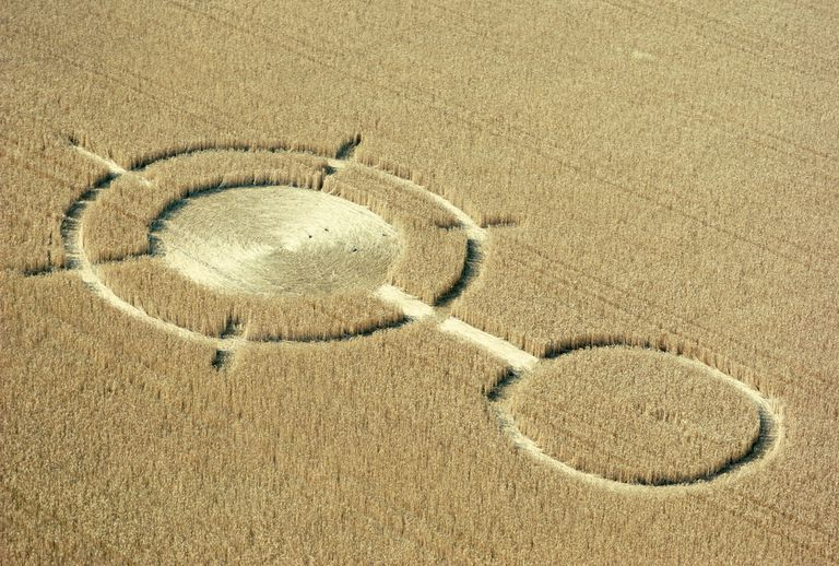 Aerial view of crop circles in a wheat field, Wiltshire, England, United Kingdom, Europe