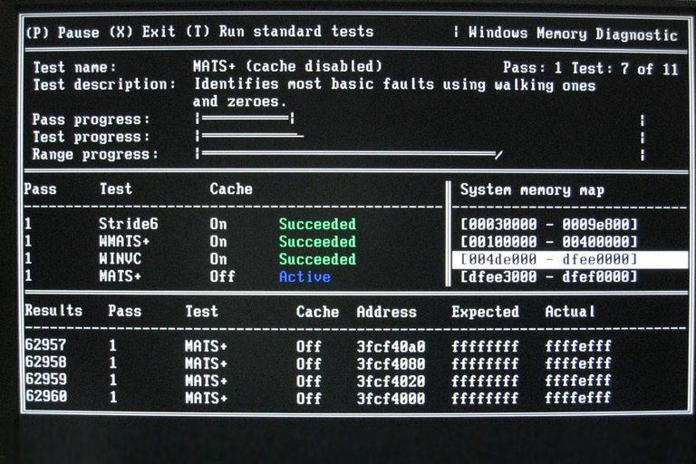 Screenshot of Windows Memory Diagnostic