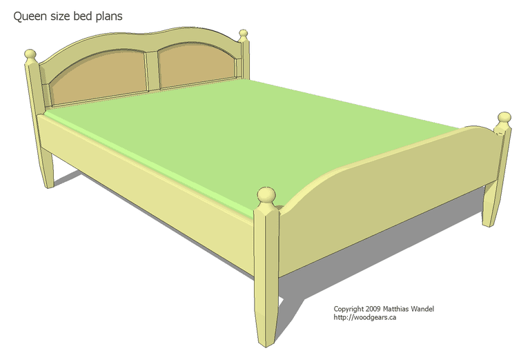 Free Queen Size Bed Plan at Woodgears.ca