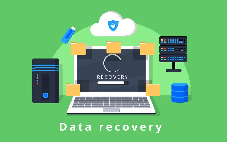 Illustration showing data recovery elements including PC, files, servers, and the cloud.
