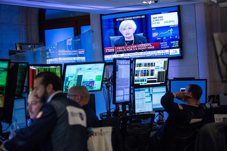 Trading Room Watching Financial News