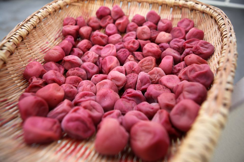 Close up of umeboshi