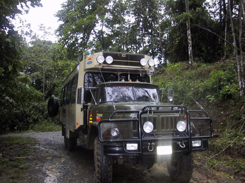 A six-wheel drive vehicle in Costa Rica