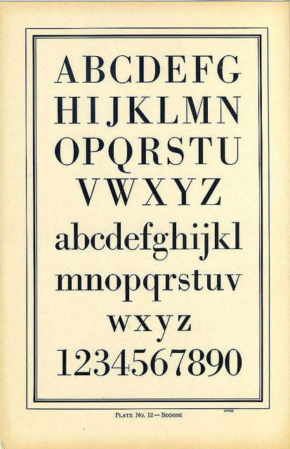 Type Charts 12 Bodoni front