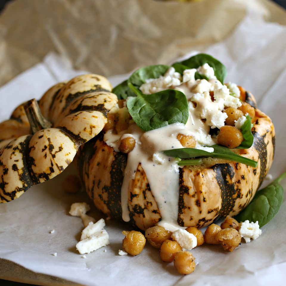 Spinach and Dumpling Squash Salad