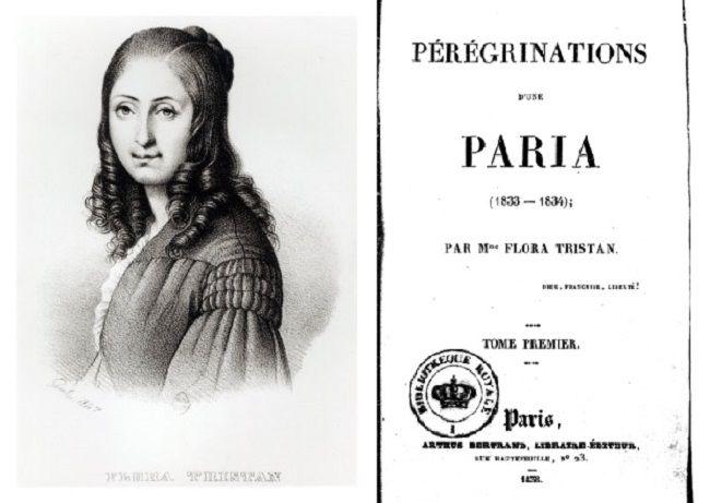 Flora Tristán y la portada de la primera edición de su libro 'Peregrinaciones de una paria'.