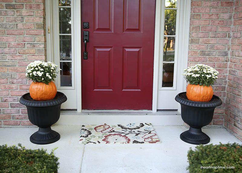 DIY Porch Pumpkin Flower Pots