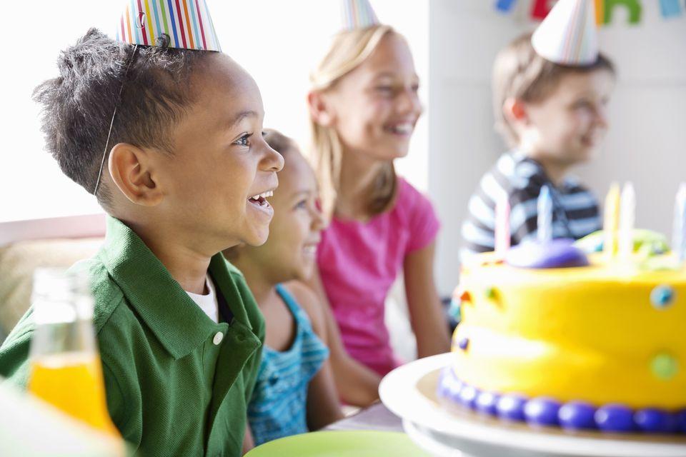 Happy little boy celebrating birthday