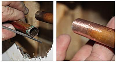 Clean copper pipe