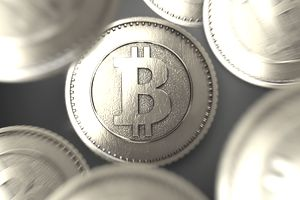 A close up of a bitcoin