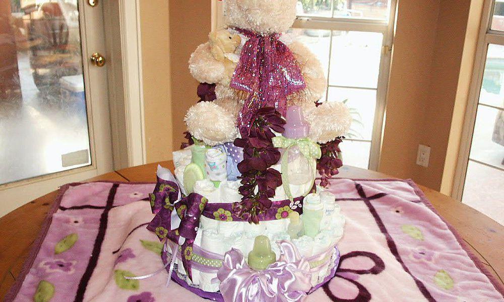 A Teddy Bear Diaper Cake Made for a Baby Shower Teddy Bear Diaper Cake