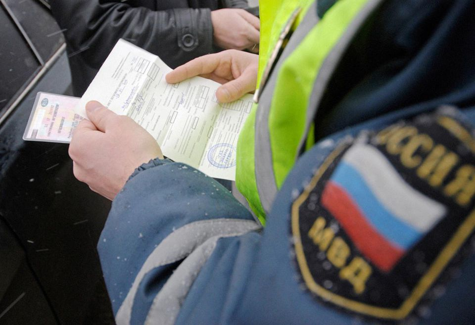 Police road patrol checking documents