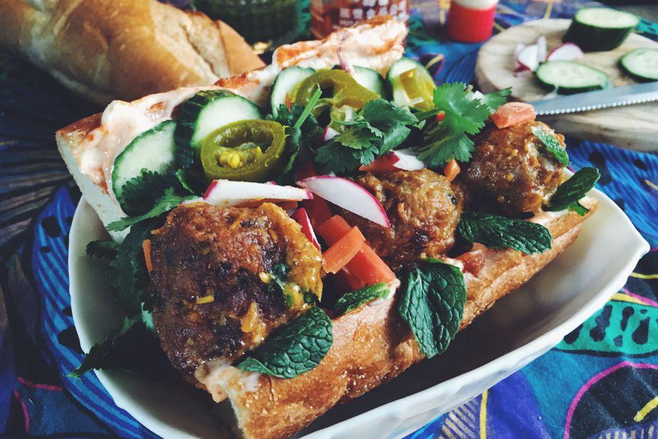 Banh Mi with Cilantro Lamb Meatballs