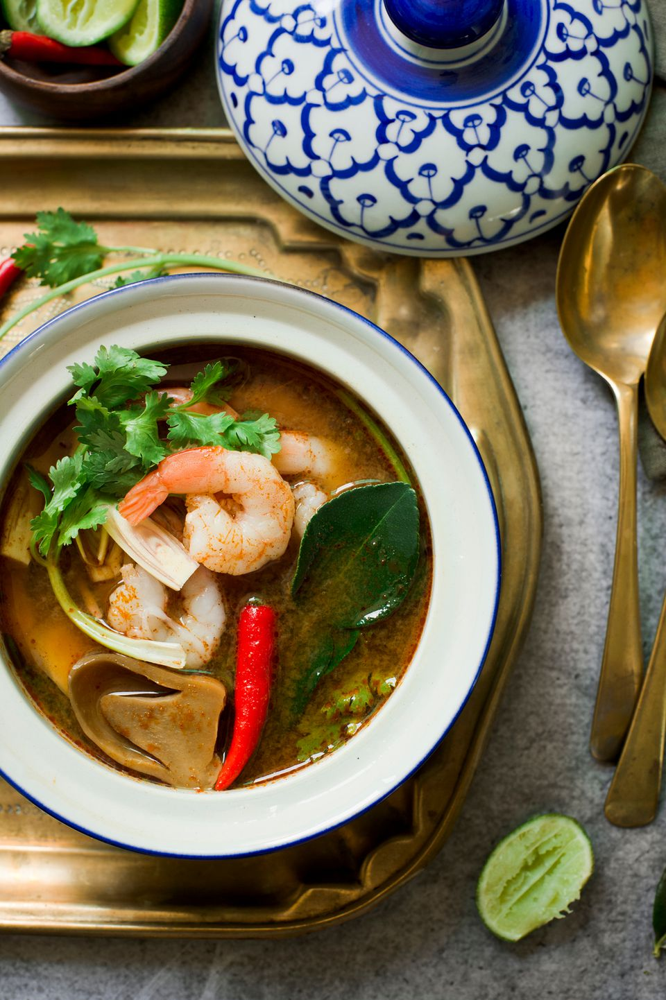 Spicy thai seafood soup recipe tom yum talay for Thai fish soup