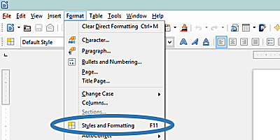 Screenshot of the LibreOffice Format dropdown menu.