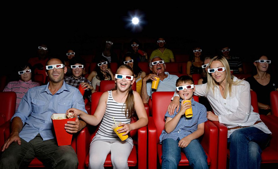 A picture of a family at the movies together