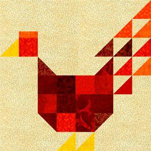 Patchwork Chicken Quilt Block Pattern