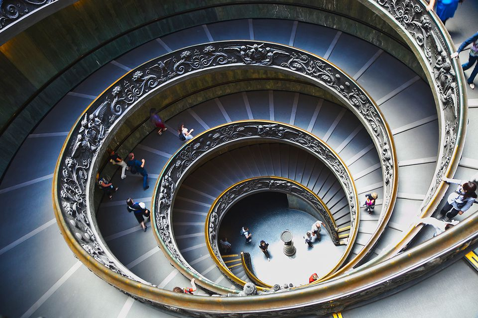 View of the Spiral Staircase at the Vatican.