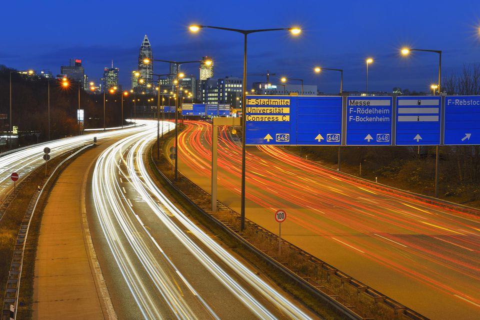 City Traffic with Car Trails, Frankfurt am Main, Hesse, Germany