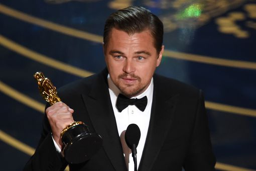Actor Leonardo DiCaprio accepts the Best Actor award for 'The Revenant'