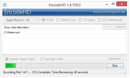 Screenshot of EncodeHD v1.4.150.0 in Windows
