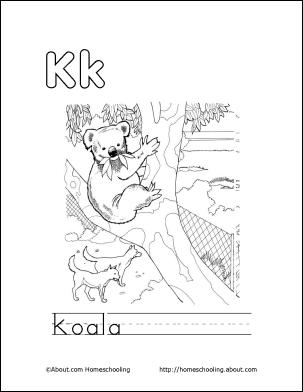 Koala Coloring Page Letter K 7