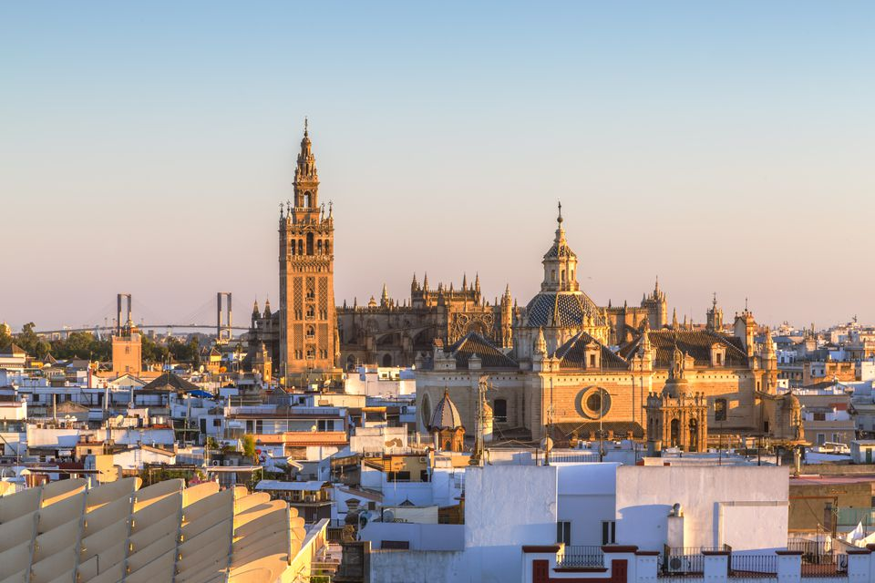 High angle view of Seville with Giralda tower