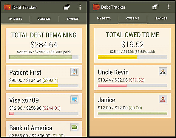 debt tracking sheet