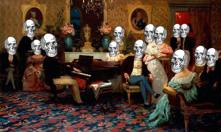 1887 oil painting, Chopin Concert, with skulls