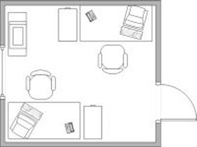 Creating a functional office layout for two people for Office design 10x10