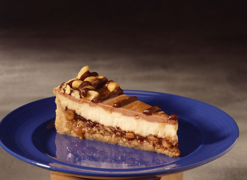 Slice of peanut butter cheesecake