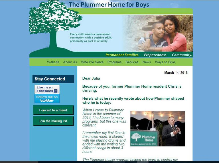 Email fundraising appeal from The Plummer Home for Boys.