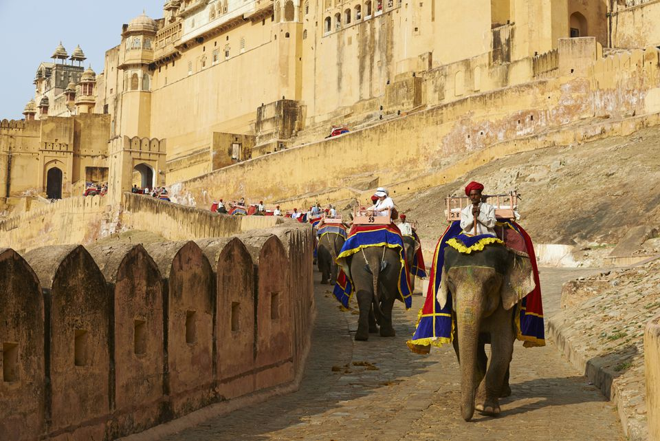 1Jaipur's Amber Fort, with elephants in foreground