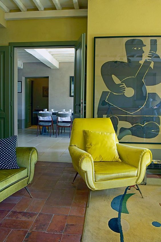 Layers of yellow in a living room